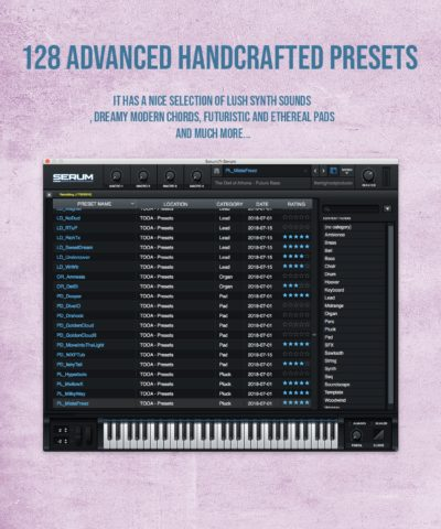 It has a nice selection of lush synth sounds , dreamy modern chords, futuristic and ethereal pads and much more..