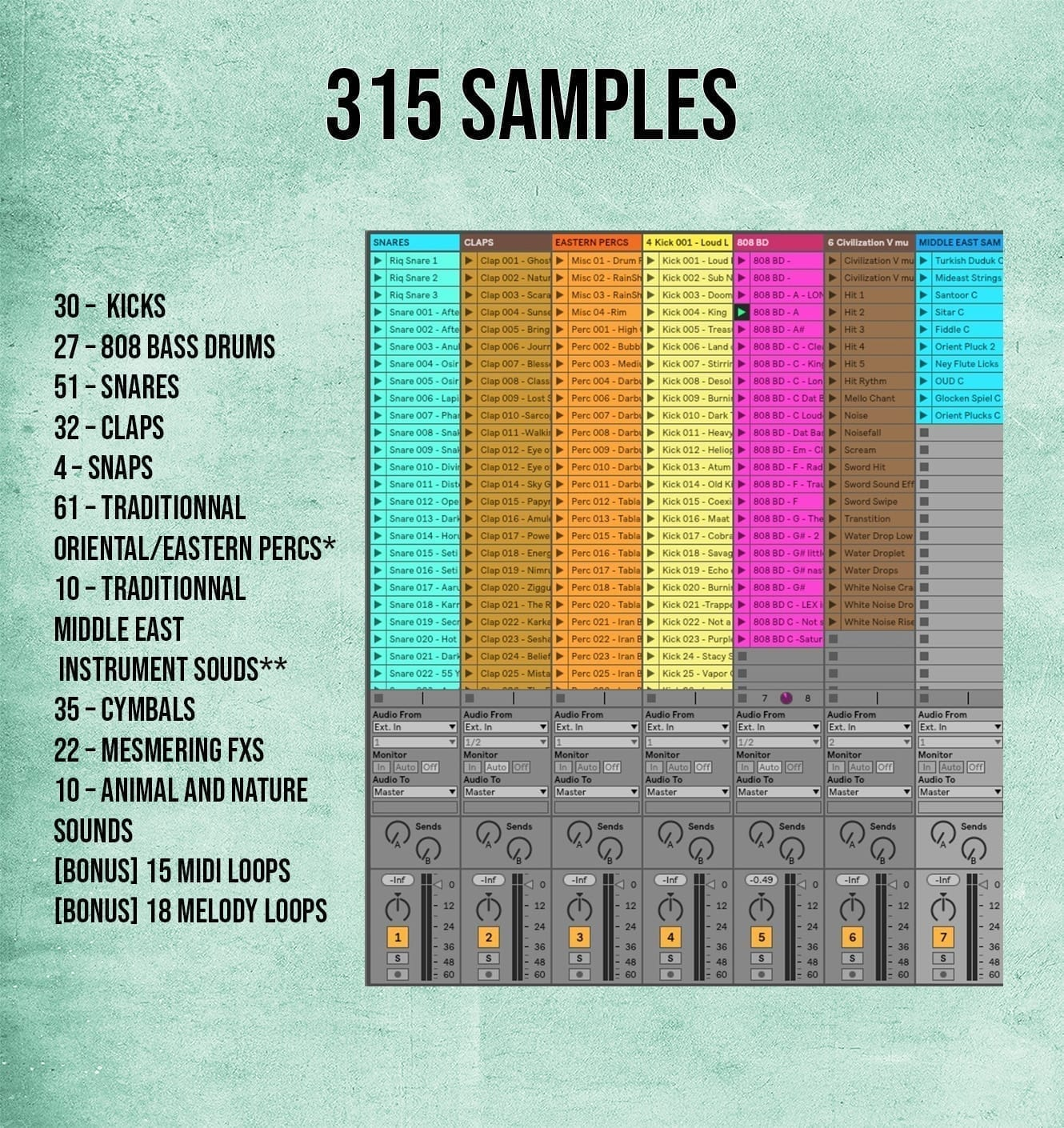 The Eye of Horus includes 315 samples