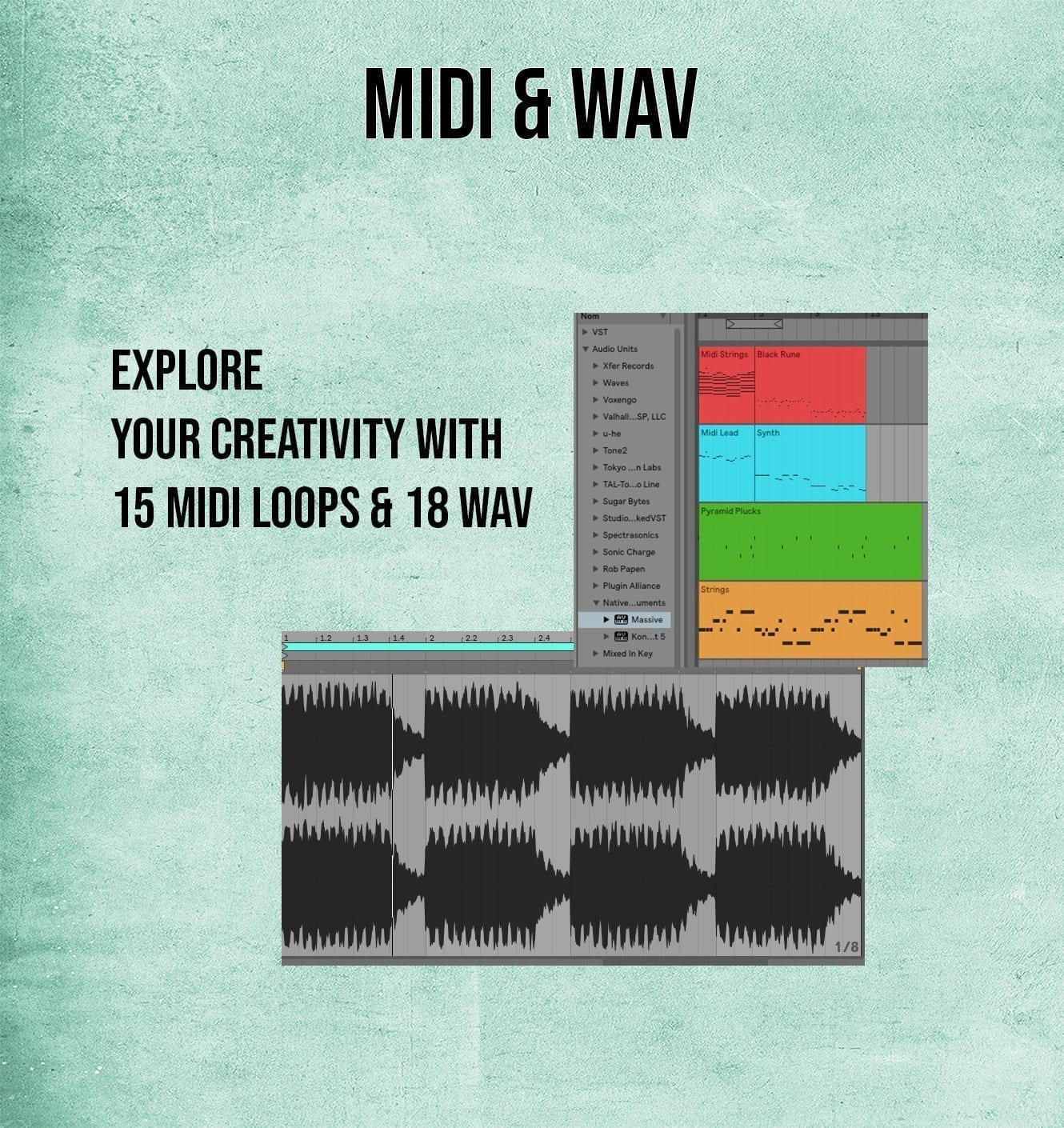 15 midi files and 18 midi patterns