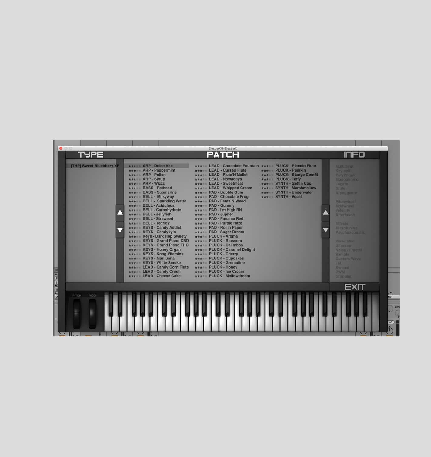 Including Keys, Leads, Pads, Synth, BAss