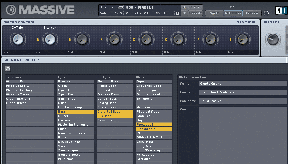 Every Preset is labeled
